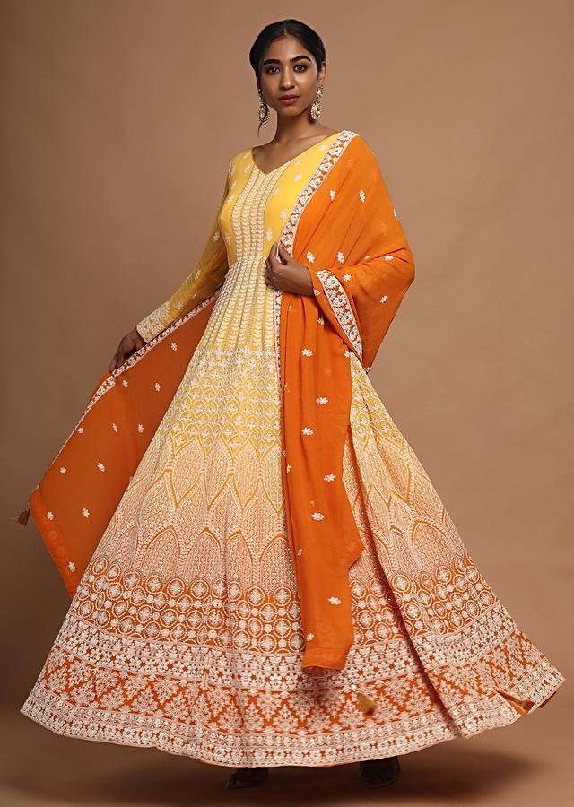 Yellow And Mustard Shaded Anarkali With Lucknowi Thread Embroidered Heritage Ethnic Design Online - Kalki Fashion