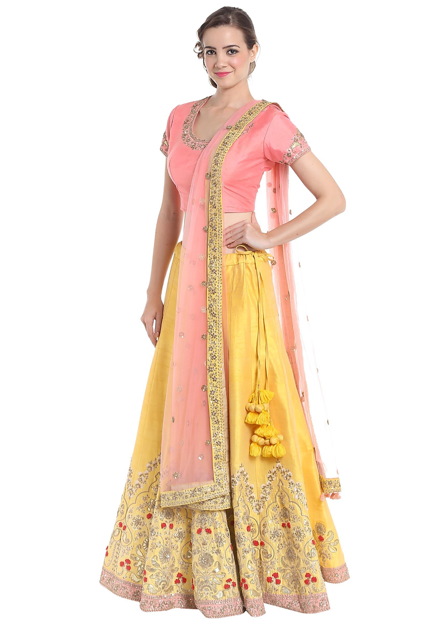 0836af70a4d49 Yellow and pink lehenga choli with resham work only at Kalki