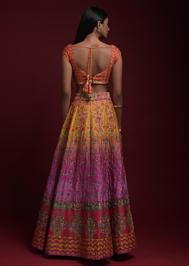 Yellow And Pink Shaded Lehenga With Printed Chevron And Floral Motifs And Jaal Pattern Online - Kalki Fashion