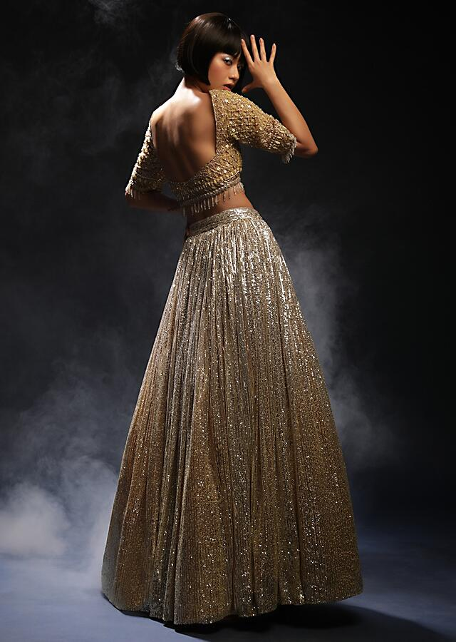 Yellow And Silver Ombre Lehenga In Sequins Fabric With Hand Embroidered Cholid Adorned In Cut Dana And Sequins Work Online - Kalki Fashion