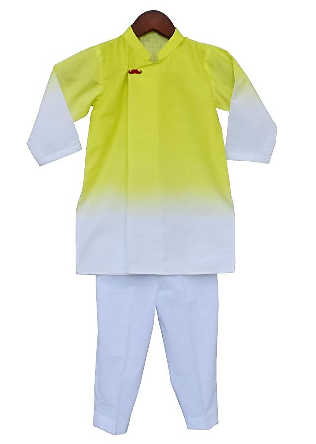Yellow And White Shaded Kurta And White Pants In Cotton By Fayon Kids