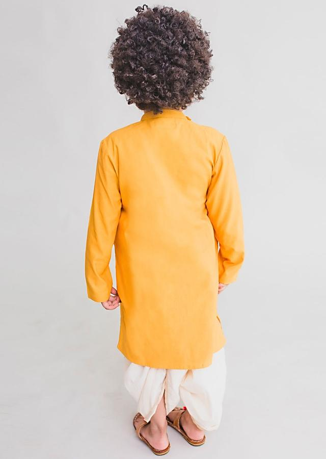 Yellow Angrakha Style Kurta Set With Thread Embroidered Krishna Cow Herd By Tiber Taber