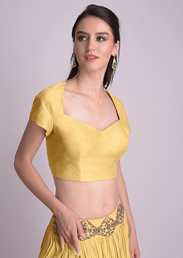 Yellow Blouse With Deep Sweet Heart Neck And Cap Sleeves Online - Kalki Fashion