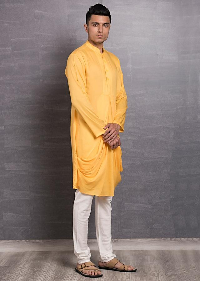 Yellow Kurta In Cotton With Cowl Drape Online - Kalki Fashion