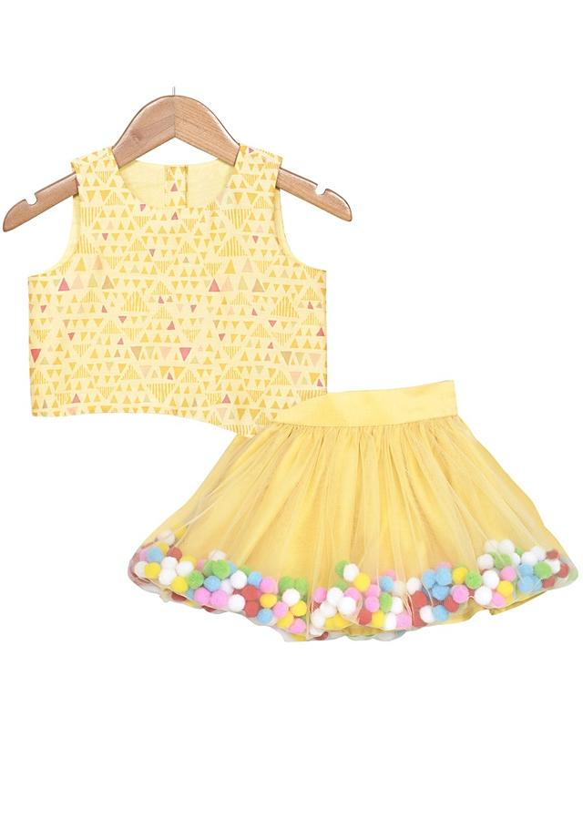 Yellow Crop Top And Balloon Skirt With Colorful Pom-Poms Online - Free Sparrow