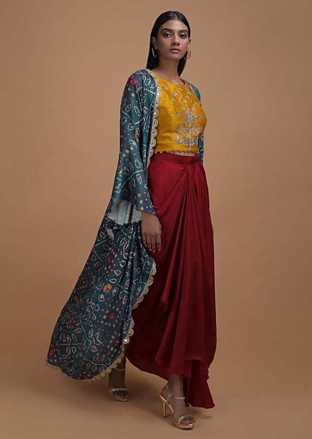Yellow Crop Top Embellished In Mirror And Zardosi Matched With Red Fancy Skirt And Bandhni Jacket Online - Kalki Fashion