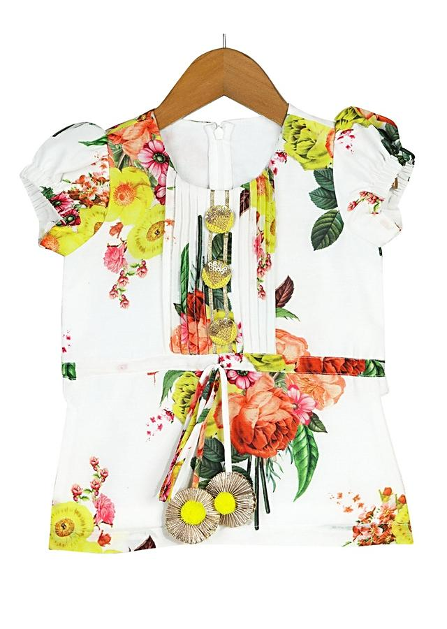 Yellow Dhoti And White Kurti Set With Floral Print And Pin Tucks Detailing Online - Free Sparrow
