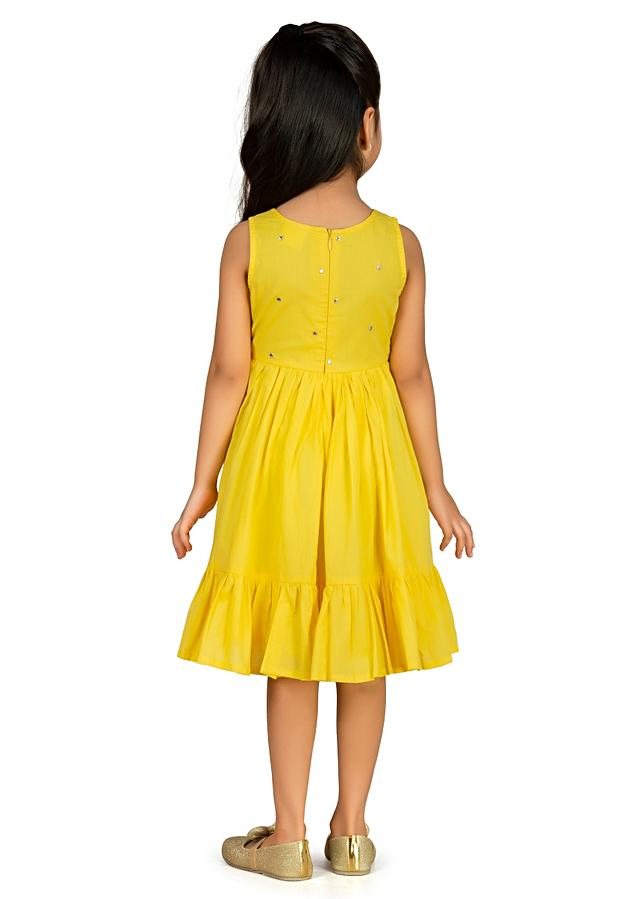 Yellow Dress In Cotton With A Flared Silhouette And Embroidery Detailing By Mini Chic
