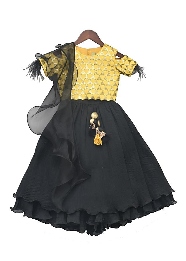 Yellow Choli With Embroidery Work And Black Pleated Lehenga by Fayon Kids