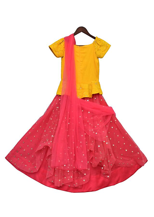 Yellow Choli With Embroidery And Coral Net Lehenga And Stitched Dupatta by Fayon Kids
