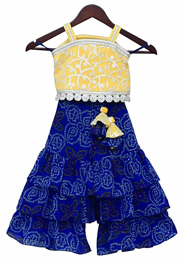 Yellow Embroidery Top with Blue Bandhej Sharara By Fayon Kids