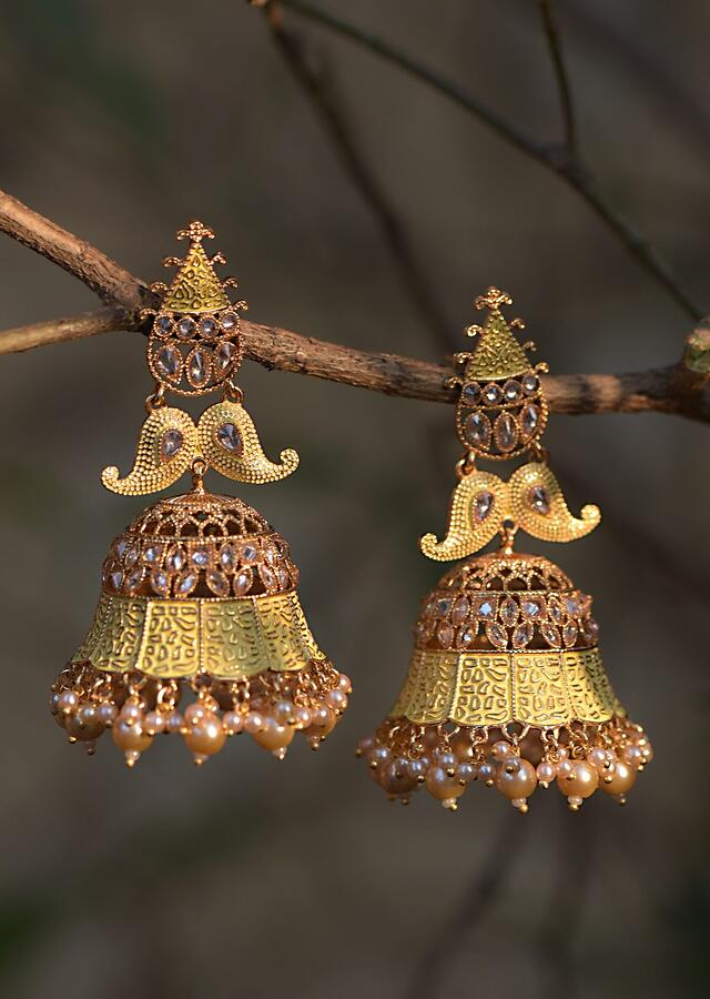 Yellow Ethnic Jhumkas With Carved Design Crystals And Dangling Pearls Online - Kalki Fashion