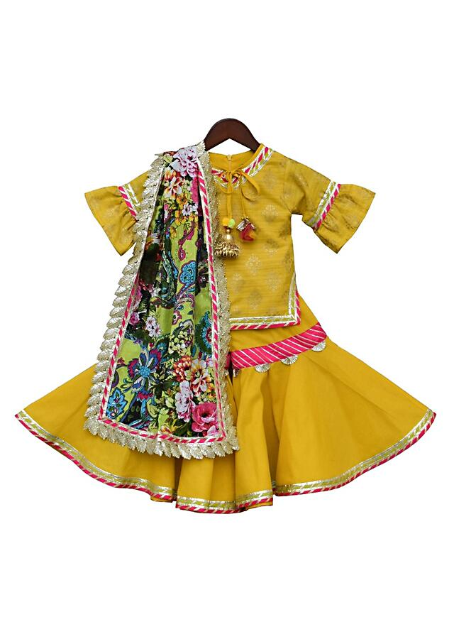 Yellow Kurti With Foil Print Teamed With Sharara And Printed Dupatta by Fayon Kids