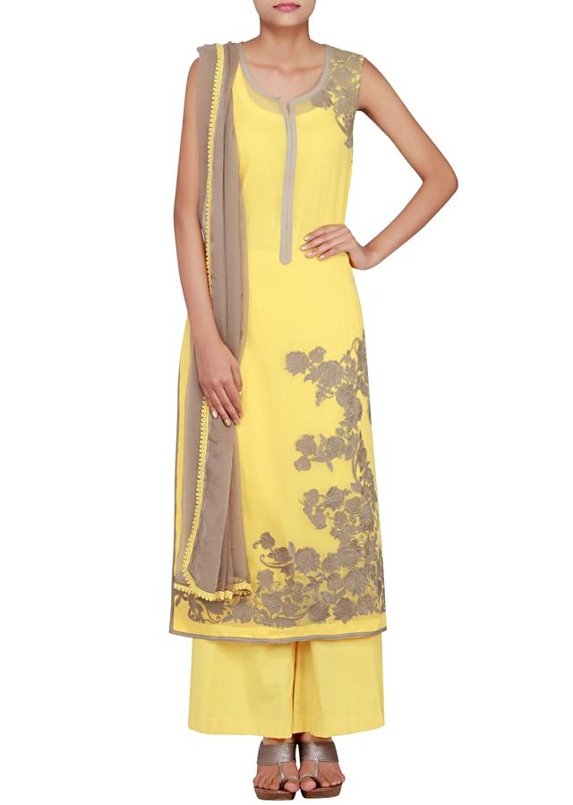 Yellow georgette straight cut salwar kameez embellished in thread work only on Kalki