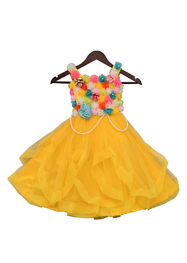 Yellow Gown With Multi Colors Flowers by Fayon Kids
