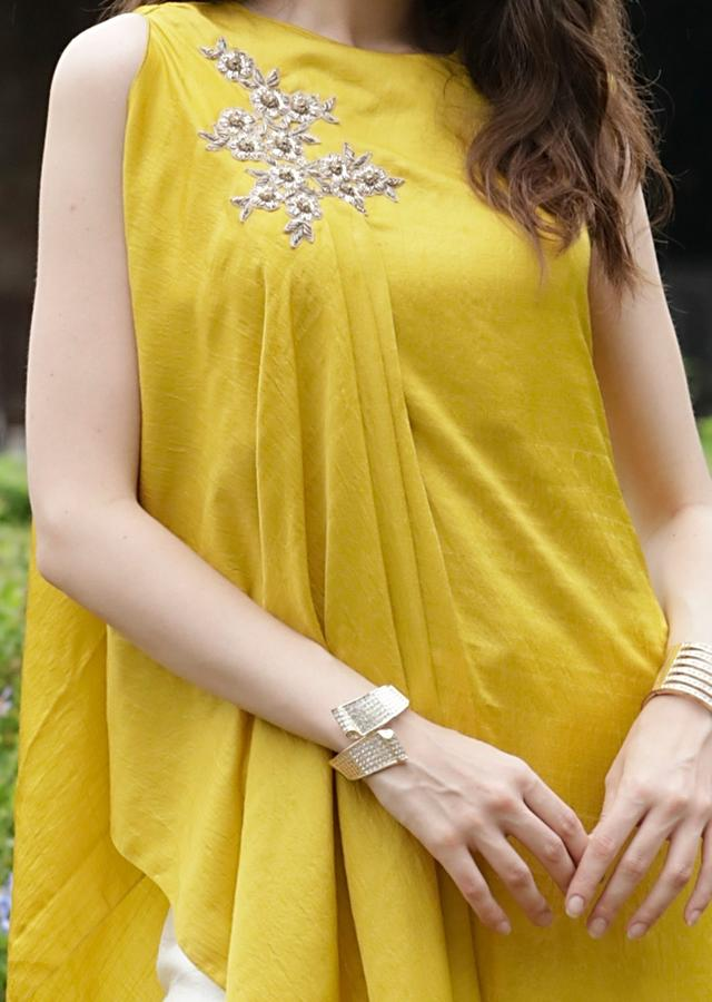Yellow High Low Kurta Set With Fancy Cowl Drape And Floral Embroidery Online - Kalki Fashion