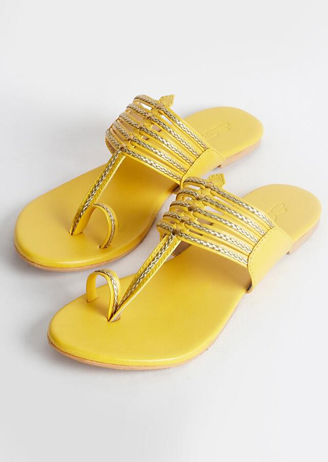Yellow Kolhapuri With Gold Braiding And Gold Rivets  By Sole House