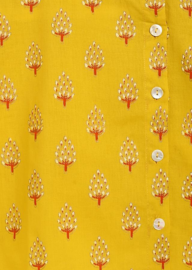 Yellow Kurta And Contrasting Dhoti Set In Cotton With Printed Buttis By Tiber Taber