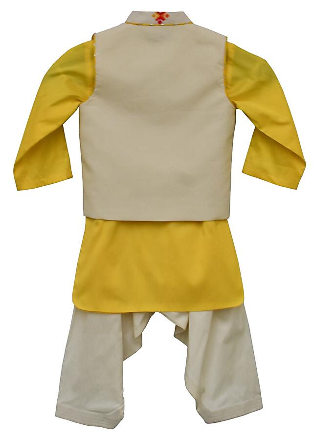 Yellow Kurta And Salwar Set With Off White Nehru Jacket With Multi Color Geometric Buttis By Fayon Kids