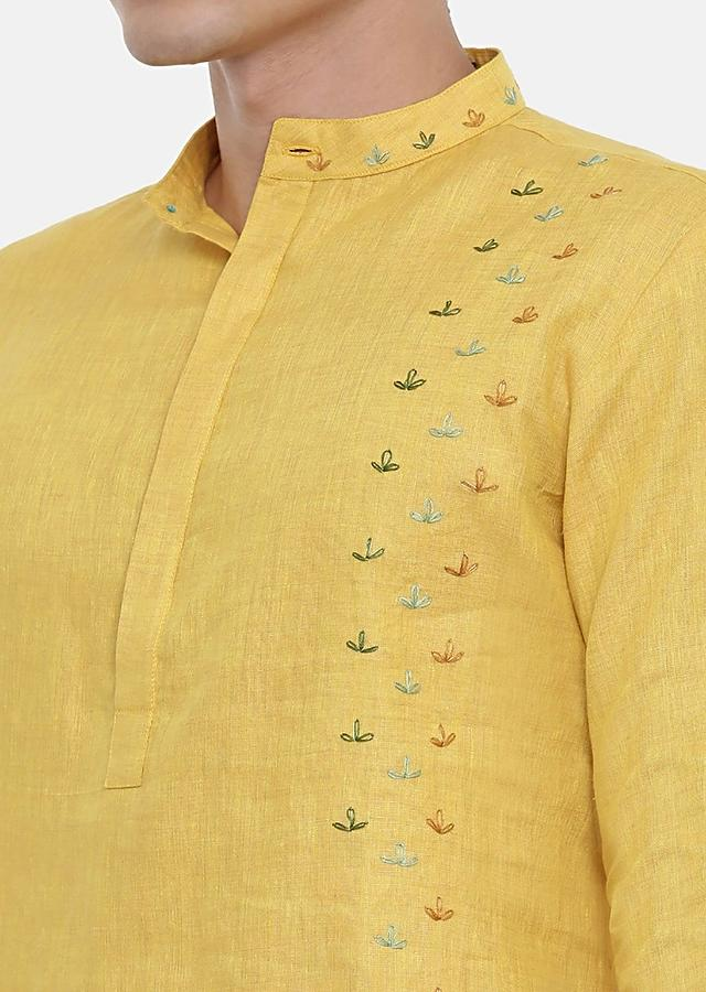 Yellow Kurta Set In Linen With Zardozi Embroidery By Mayank Modi