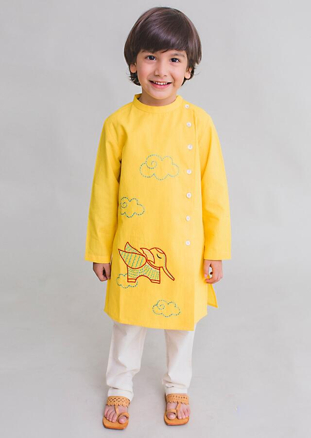 Yellow Kurta Set With Thread Embroidered Elephant Inspired From Gond Tribal Folk Art By Tiber Taber