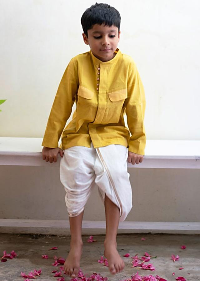 Yellow Kurta Shirt With Contrast Potli Buttons And Dhoop Chau Pocket Details Love The World Today