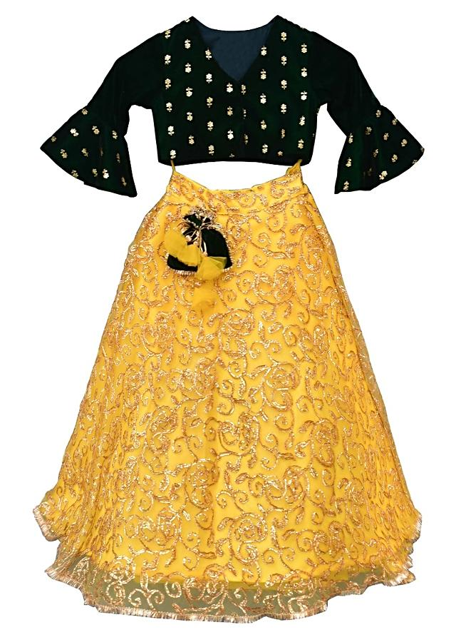 Yellow Lehenga And Emerald Green Choli With Gotta Embroidered Floral Jaal By Fayon Kids