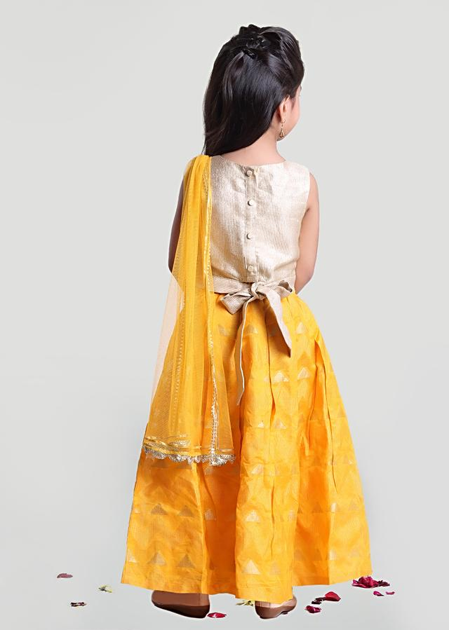 Yellow Lehenga And Off White Choli Set In Brocade Silk With Sequins Work By Mini Chic