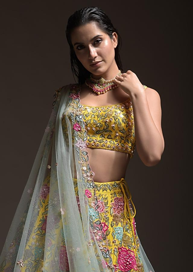 Yellow Lehenga Choli In Raw Silk With Resham, Cut Dana And Sequins Embroidered Summertime Blossoms Online - Kalki Fashion