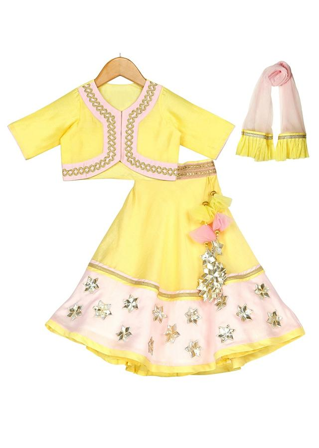 Yellow Lehenga Choli With Pink Highlights And Gotta Work Online - Free Sparrow