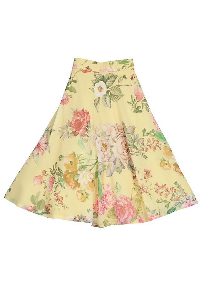 Yellow Lehenga With Floral Print And Pink Ruffle Crop Top Online - Free Sparrow