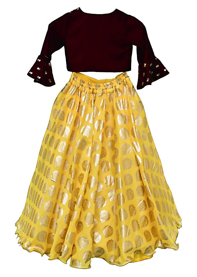 Yellow Lehenga With Printed Buttis And Maroon Choli In Velvet By Fayon Kids