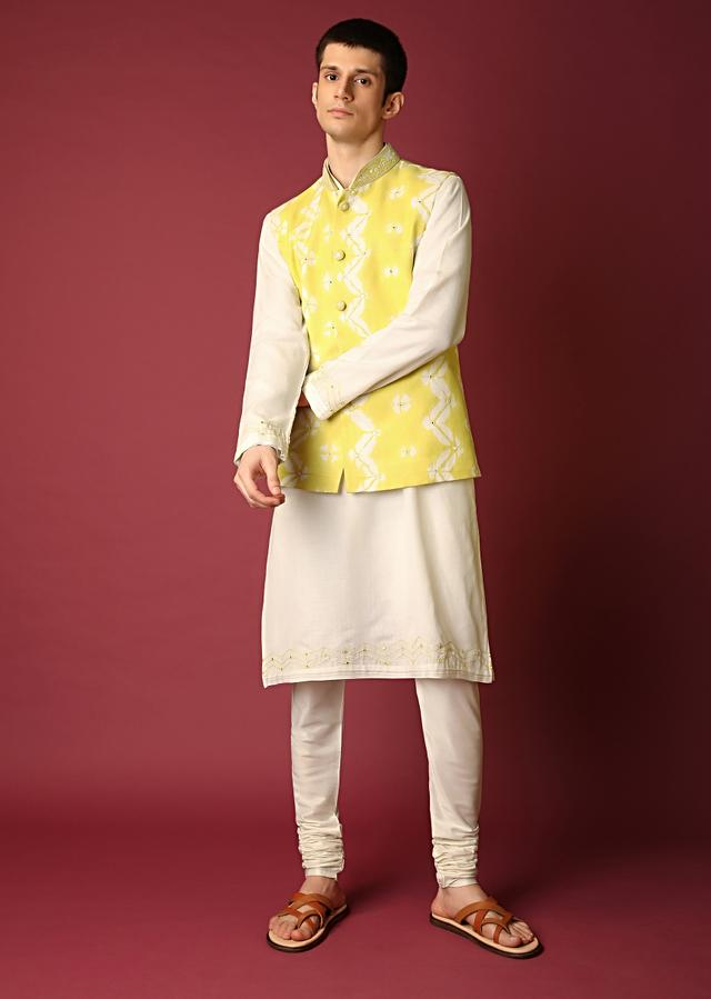 Yellow Nehru Jacket With Batik Print And Embroidered With Thread And Mirror Work Along With Kurta Set Online - Kalki Fashion