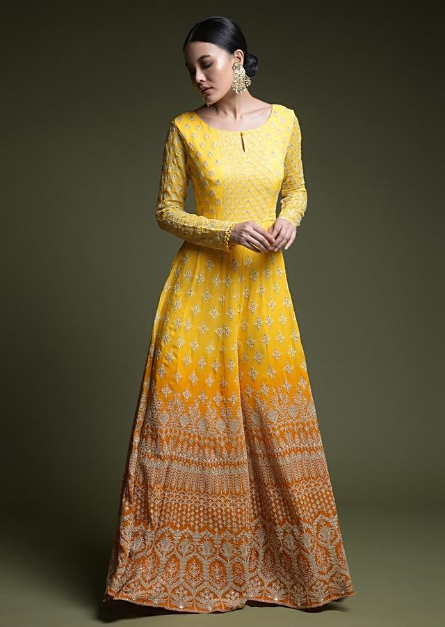 Yellow Ombre Jumpsuit In Georgette With Lucknowi Thread Embroidered Buttis And Heritage Floral Motifs Online - Kalki Fashion