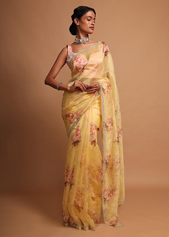 Yellow organza saree with floral digital print Online - Kalki Fashion