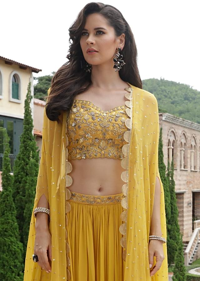 Yellow Palazzo Suit With Zardozi Embroidered Floral Jaal And Matching Jacket Online - Kalki Fashion