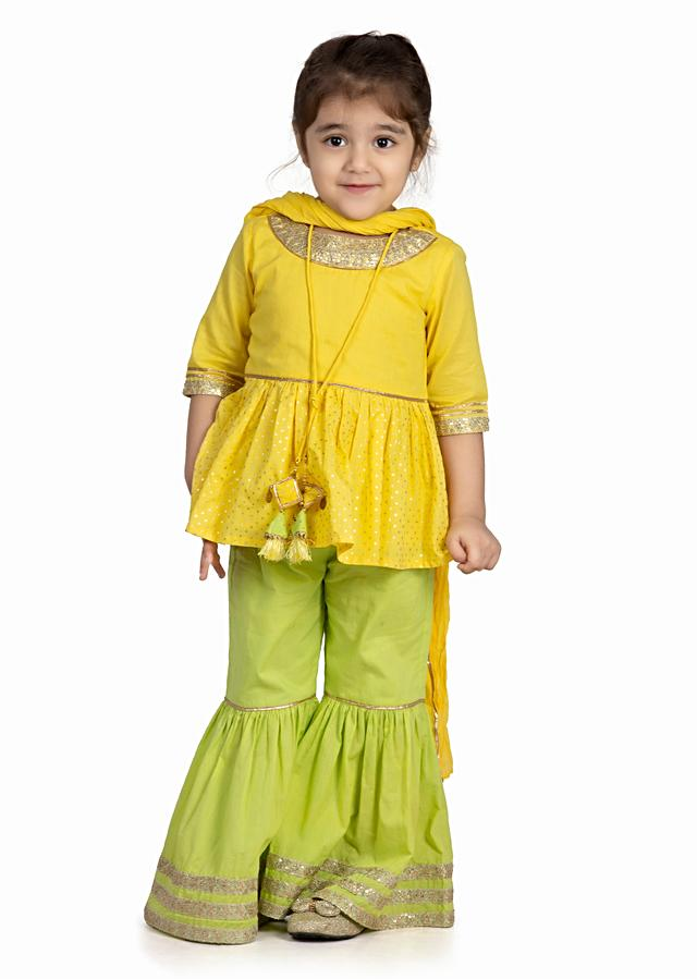 Yellow Peplum And Lime Green Sharara Set With Embroidery Lace Detailing By Mini Chic