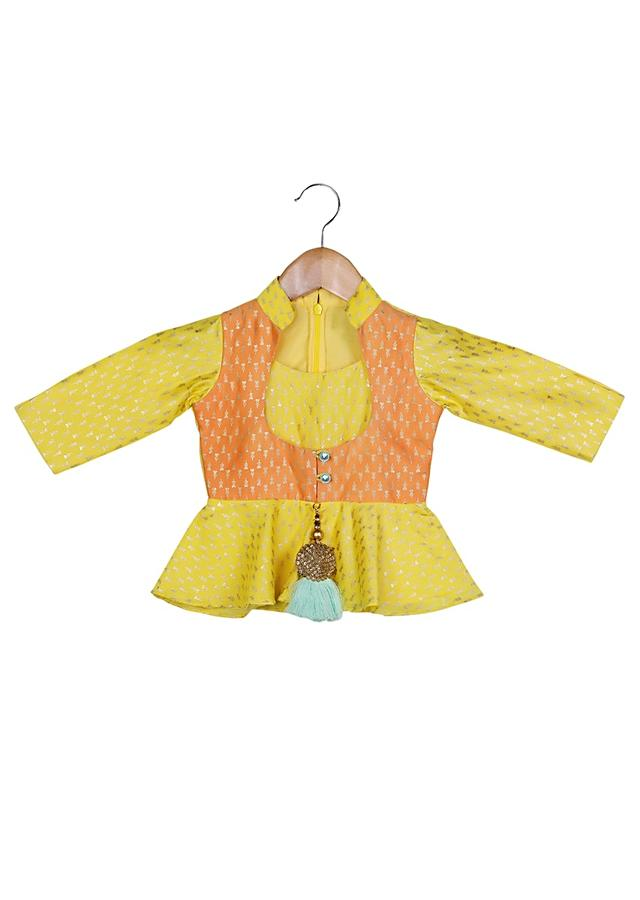 Yellow Peplum Top With Orange Attached Jacket And Sea Green Dhoti Pants Online - Free Sparrow