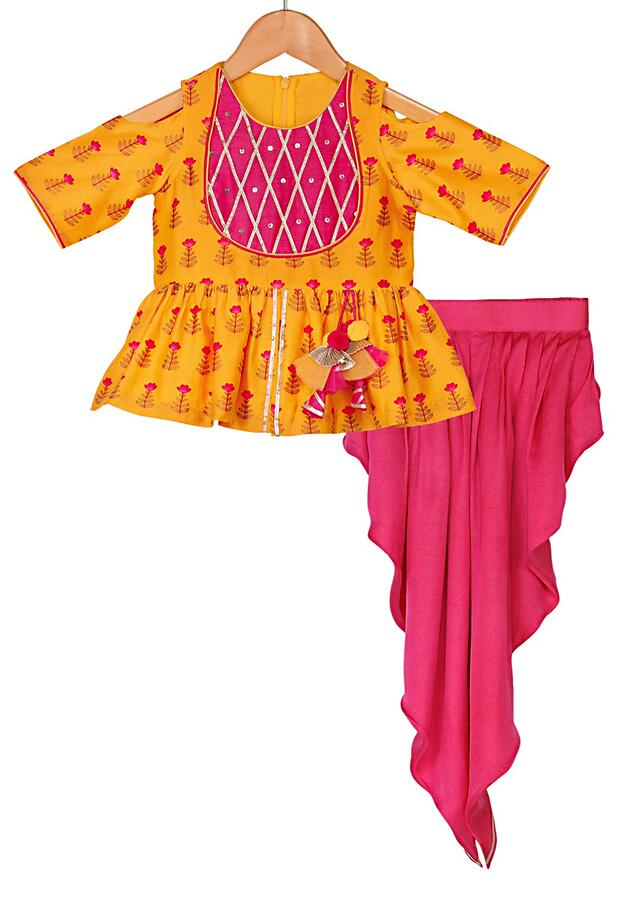 Yellow Peplum Top With Printed Buttis And Fuchsia Pink Dhoti Pants Online - Free Sparrow