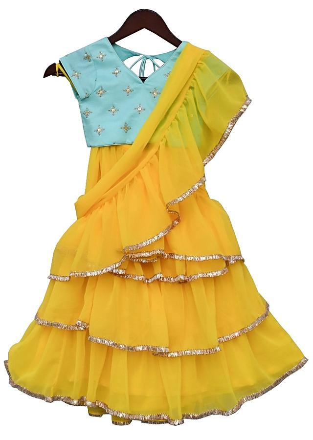 Yellow Ready Stitched Saree With Ruffle Layers And Blue Choli By Fayon Kids