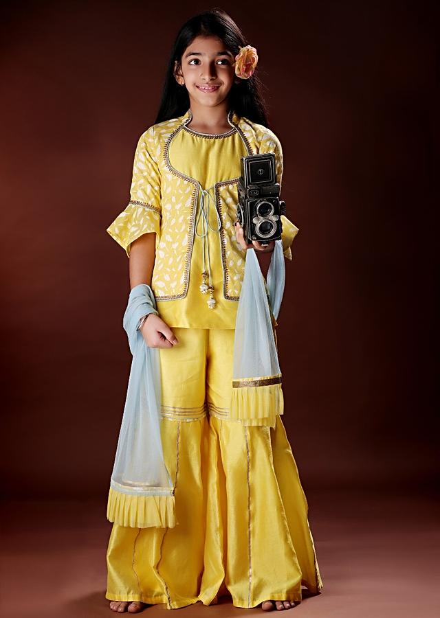 Yellow Sharara Set In Chanderi Silk With Attached Printed Jacket Online - Free Sparrow