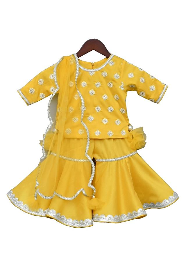 Yellow Sharara Suit In Silk With Thread Embroidered Buttis By Fayon Kids