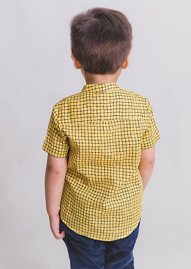 Yellow Shirt In Cotton With Check Print And Metal Bird Brooch By Tiber Taber