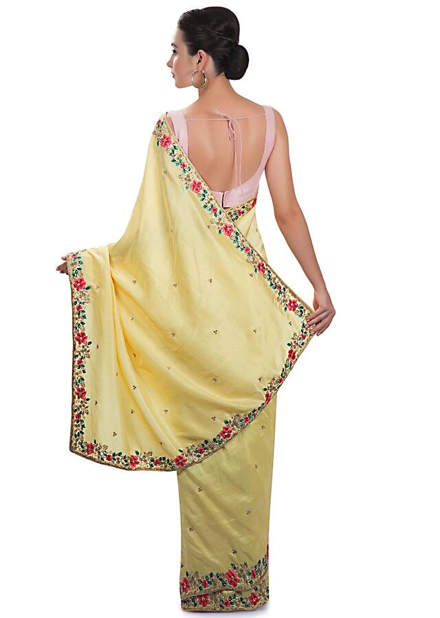 Yellow Saree In Silk With Resham, Moti And Zardosi Work Online - Kalki Fashion