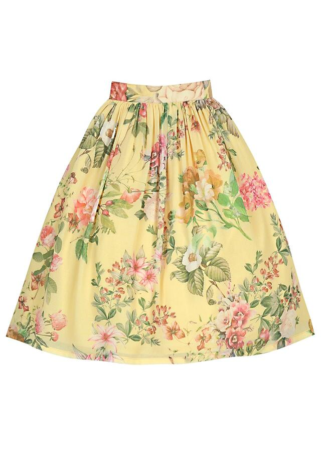Yellow Skirt And Crop Top Set In Floral Printed Georgette With Bell Sleeves Online - Free Sparrow