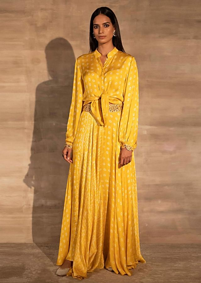 Yellow Skirt And Crop Top With Bandhani Print And Mirror Abla Embroidery Online - Kalki Fashion