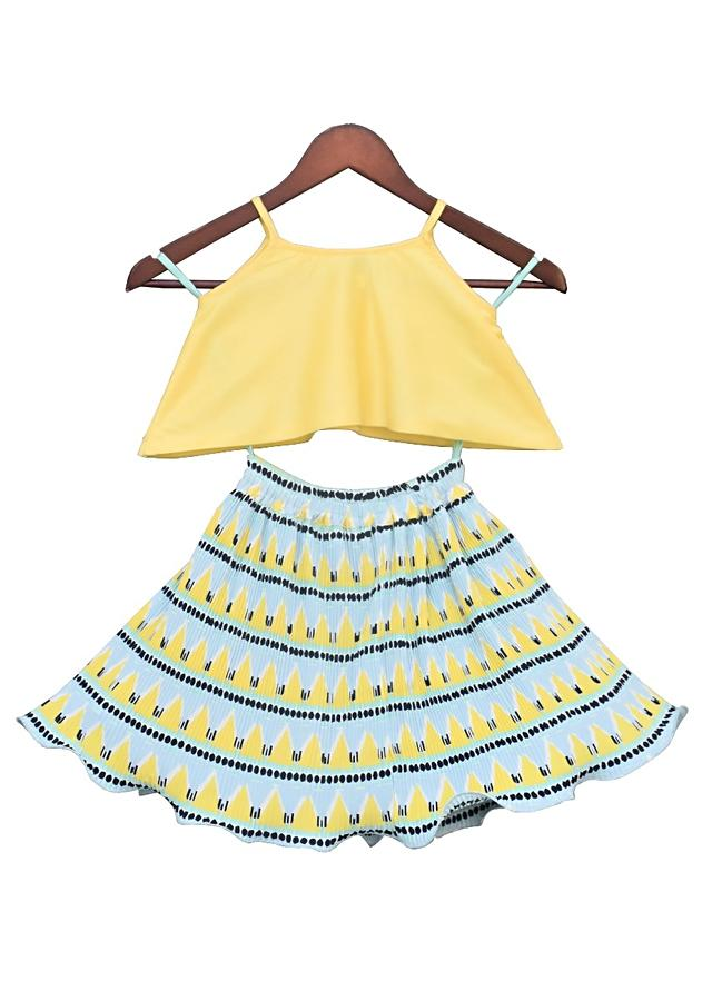 Yellow Top With Soft Sequins And Pleated Skirt by Fayon Kids
