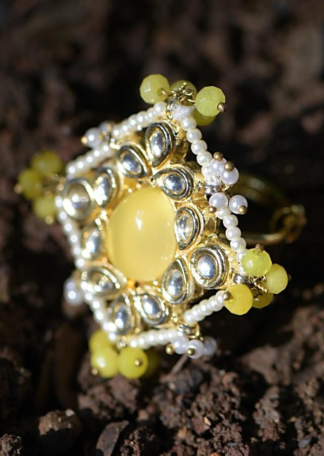 Yellow Stone And Kundan Studded Ring In Square Shape Adorned With Pearls And Beads Kohar By Kanika