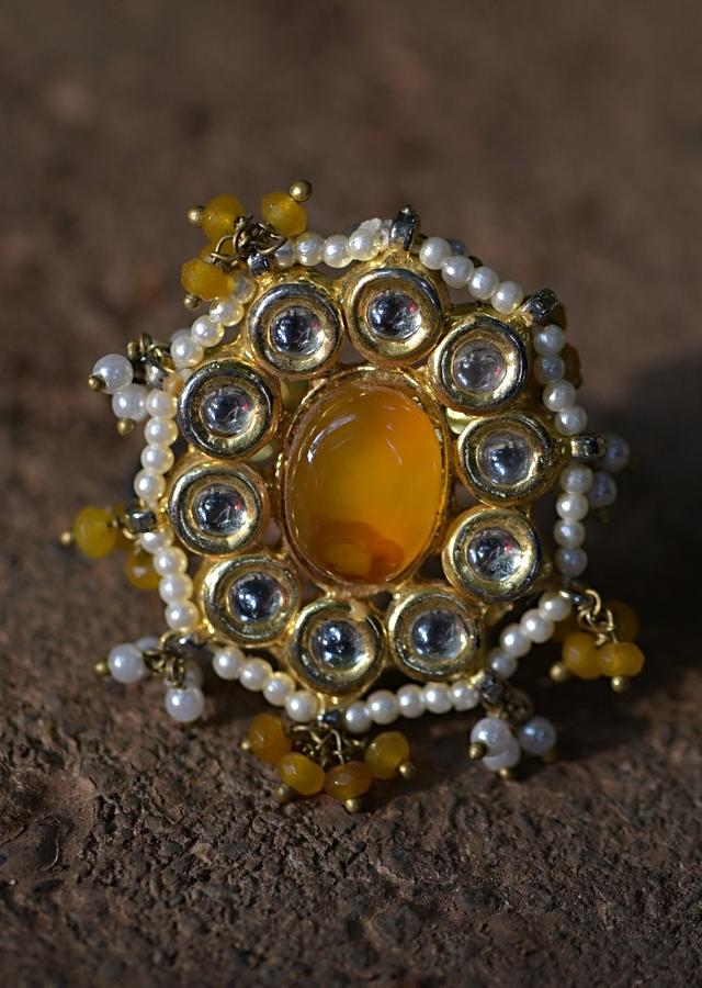 Yellow Stone Ring With Kundan And Pearls In Floral Pattern And Dangling Bead Tassels Kohar By Kanika
