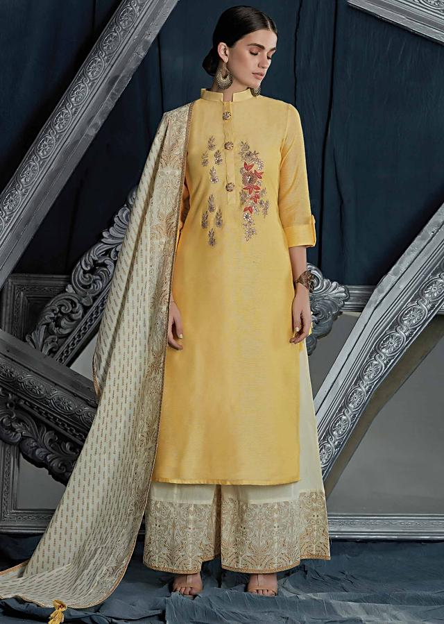 Yellow Straight Palazzo Suit In Silk With Embroidered Placket In Gotta Patch And Resham Online - Kalki Fashion